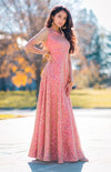 Amira Gold Sequin Embroidered Anarkali Dress - Red Lining - Harleen Kaur Bridal