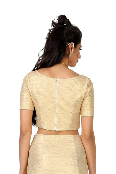 Short Sleeve Samara Stretch Metallic Gold Saree Crop Top | HARLEEN KAUR
