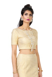Short Sleeve Samara Stretch Metallic Gold Lehenga Crop Top | HARLEEN KAUR