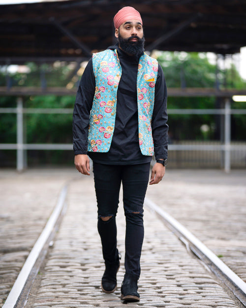 SINDA Floral Embroidered Vest - Front View - Harleen Kaur Menswear - Sample Sale
