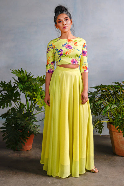 ANOOR Lime Floral Crop Top - Harleen Kaur - Front View