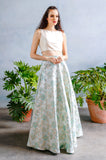 ANEELA Floral Jacquard Skirt with Pastel and Gold Details  - Front View - Harleen Kaur