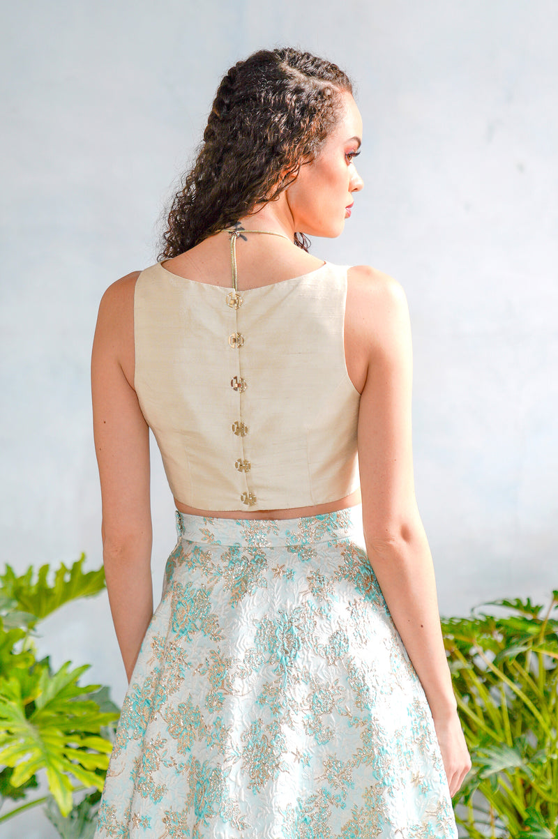MIDA Silk Lengha Top - Back View - Harleen Kaur Womenswear - Sample Sale