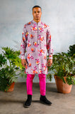 SUMEET Marigold Floral Kurta Shirt - Front View - Harleen Kaur - South Asian Menswear