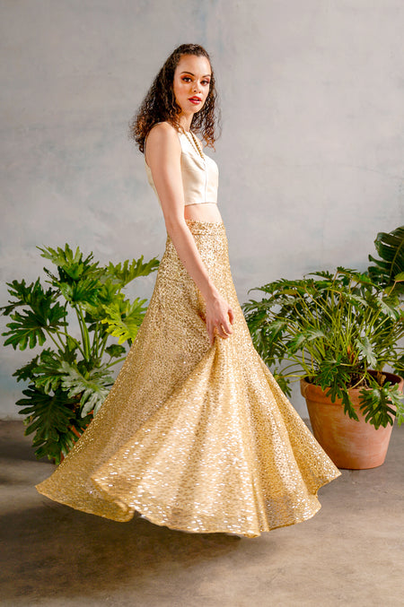 AMIRA Gold Embroidered Anarkali Dress