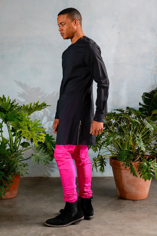 ZAIN Zipper Detail Cotton Shirt - Side View - Harleen Kaur - Indian Menswear