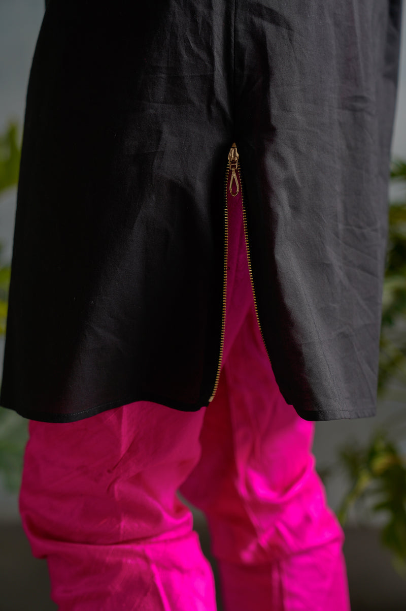 ZAIN Zipper Detail Cotton Shirt - Detail View - Harleen Kaur - South Asian Menswear