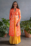 RANI Neon Orange Jacquard Jacket - Front View - Harleen Kaur