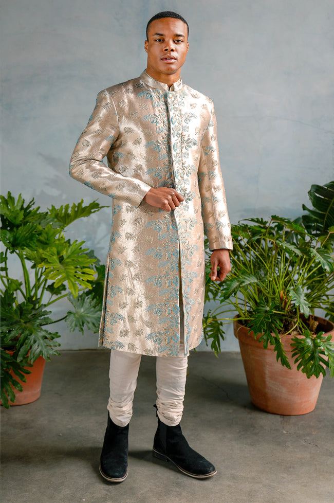VEER Palm Floral Jacquard Sherwani Jacket - Front View - Harleen Kaur - South Asian Menswear