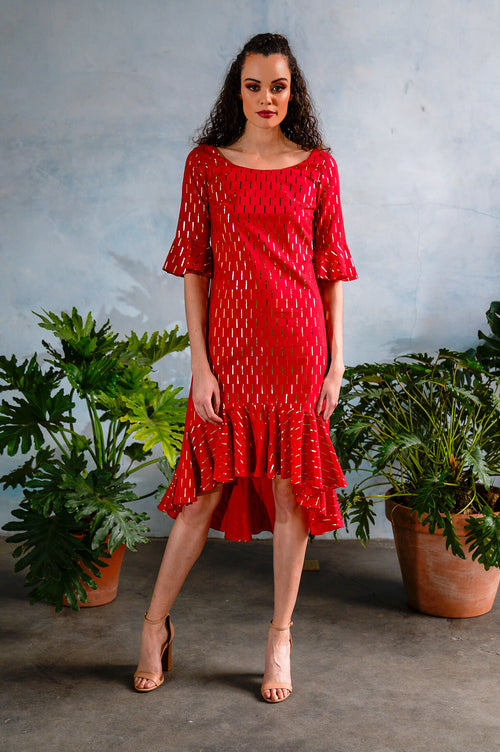 LOLA Foiled Cotton Dress in Red - Front View - Harleen Kaur Womenswear - Sample Sale