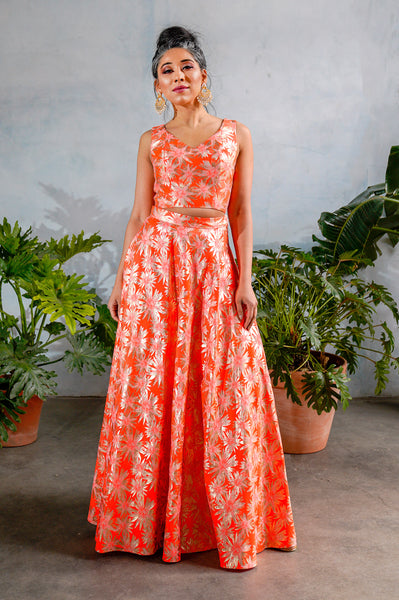 ANEELA Neon Orange Jacquard Skirt with Gold Flora Details - Front View - Harleen Kaur