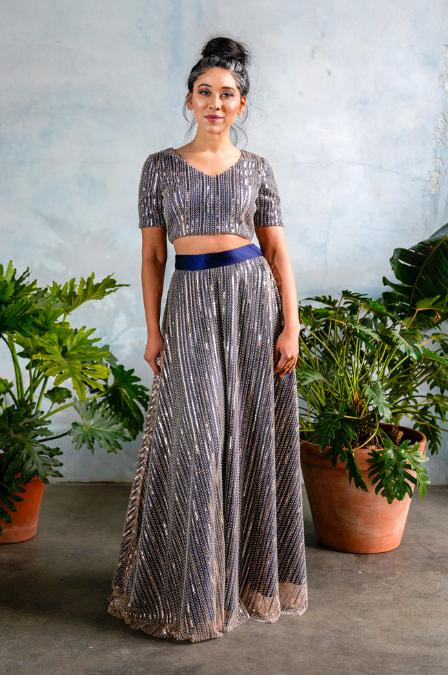 GILLY Striped Beaded Sequin Skirt in Navy - Front View - Harleen Kaur