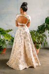 ANEELA Pastel Jacquard Skirt with Metallic Gold Floral Details - Back View - Harleen Kaur