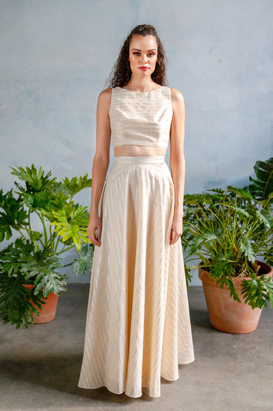 ANEELA Jacquard Skirt with Metallic Stripe Details - Front View - Harleen Kaur