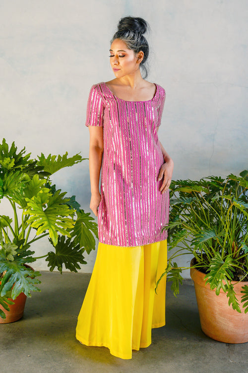 LEENU Striped Beaded Sequin Dress in Pink - Front View - Harleen Kaur