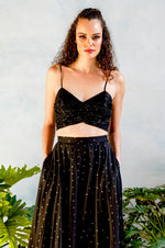 ELENA Metallic Chiffon Top in Black - Front View - Harleen Kaur - South Asian Womenswear