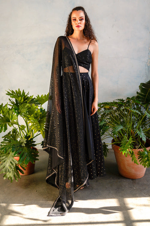 RINA Black and Gold Dupatta - Front View - Harleen Kaur - Indowestern Womenswear