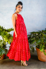 GEMMA Red Cotton Dress with Gold Foiled Rectangle Details - Side View - Harleen Kaur