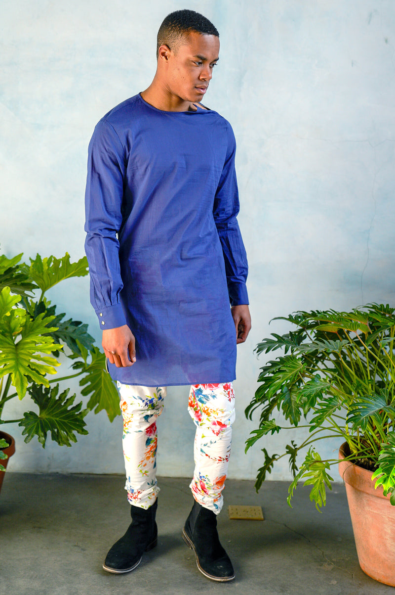 JEEVAN Tropical Floral Pant with Blue Kurta - Front View - Harleen Kaur - Indian Menswear
