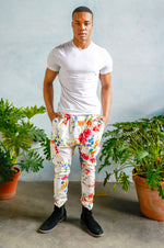 JEEVAN Tropical Floral Pant in White - Front View - Harleen Kaur - Ethically Made Menswear