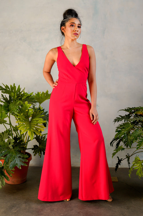 LEENA Crepe Jumpsuit in Red - Front View - Harleen Kaur Indian Womenswear