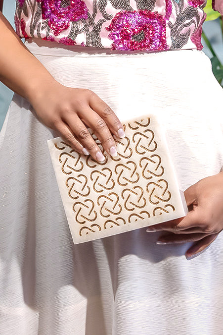 BOCA Gold Marble Clutch - Front View - Harleen Kaur - Indian Accessories