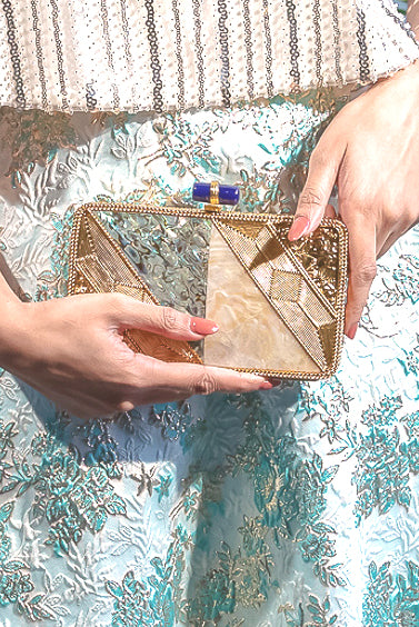 NINA Gold Sea Clutch - Front View - Harleen Kaur - Indian Accessories