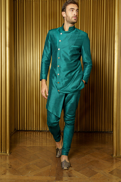 BRAR Asymmetrical Sherwani Jacket in Evergreen - Front View - Harleen Kaur - Indian Menswear