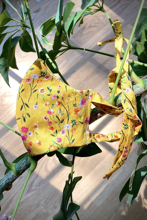 Yellow Floral Cotton Kids Mask - Side View - Harleen Kaur Kidswear
