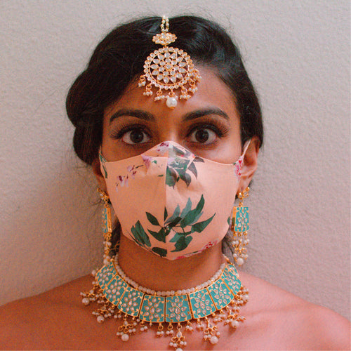 Peach Floral Unisex Face Mask - Front View - Harleen Kaur - Indian Womenswear