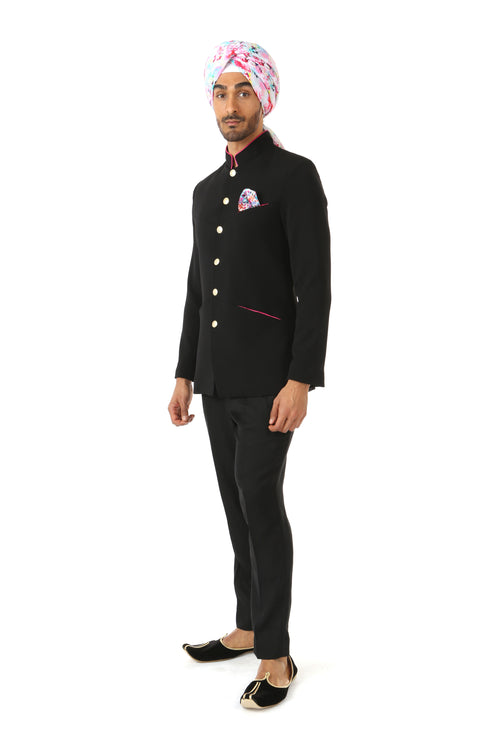 NAHM Black Jacket - Side View - Harleen Kaur - Indowestern Menswear