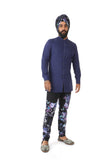 Harleen Kaur Justin Slim Long Sleeve Cotton Kurta - Navy Front