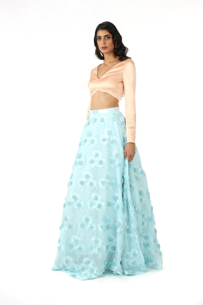 ANEELA Aqua Satin Can-Can Lehenga Skirt with 3D Flowers - Front View | HARLEEN KAUR