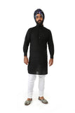 RAAYA Classic Cotton Kurta Shirt  in Black - Front View - Harleen Kaur - Indowestern Menswear