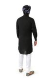 Harleen Kaur Raaya Long Sleeve Cotton Kurta - Black Back View