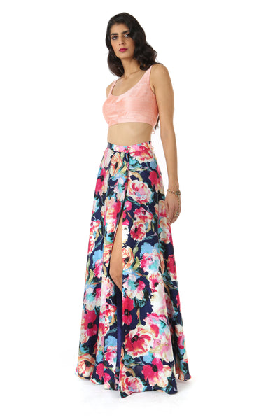 HAILEY Satin Slit Lehenga Skirt in Navy Multi Floral Print - Side View | HARLEEN KAUR