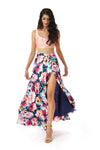 HAILEY Navy Floral Satin Slit Maxi Skirt with Peach Maria Top with Lace-up Back | HARLEEN KAUR