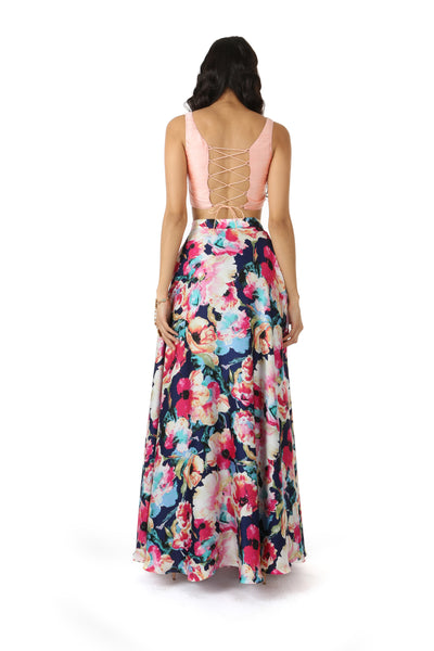 Harleen Kaur Maria Peach Silk Lace Up Back Crop Top - Back View