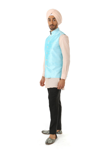 Harleen Kaur Men's Arjun Silk Vest in Aqua with Silver Buttons and Mandarin Collar - Side View