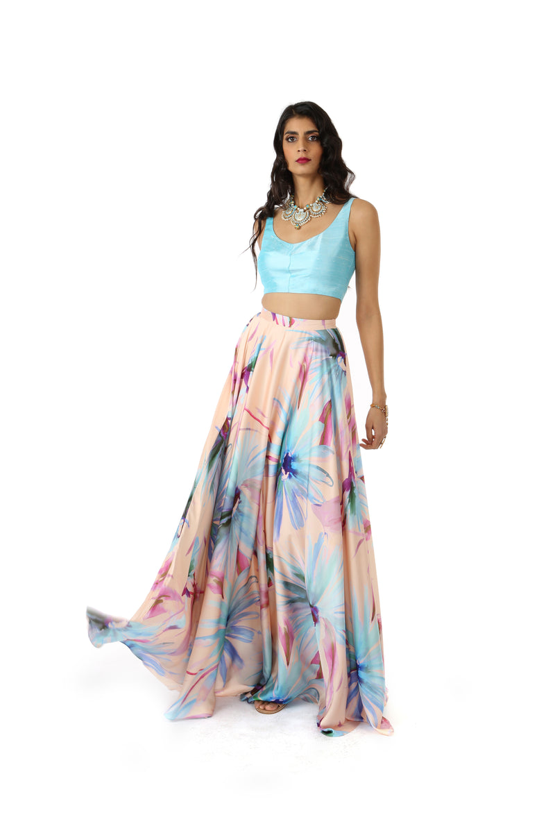 Harleen Kaur Maria Aqua Silk Lace Up Back Crop Top - Front View