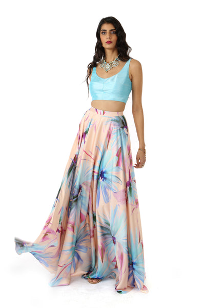 ANISHA Floral Satin Maxi Skirt with Aqua Watercolor Flowers Printed Throughout Skirt - Front View | HARLEEN KAUR