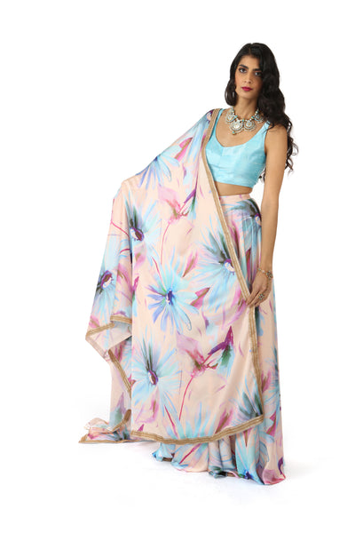 RITA Watercolor Floral Dupatta - Front View - Harleen Kaur - Indian Womenswear