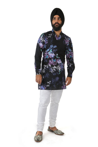 CARTER Dark Cotton Floral Print V-Neck Kurta with Long Sleeves - Front View | HARLEEN KAUR