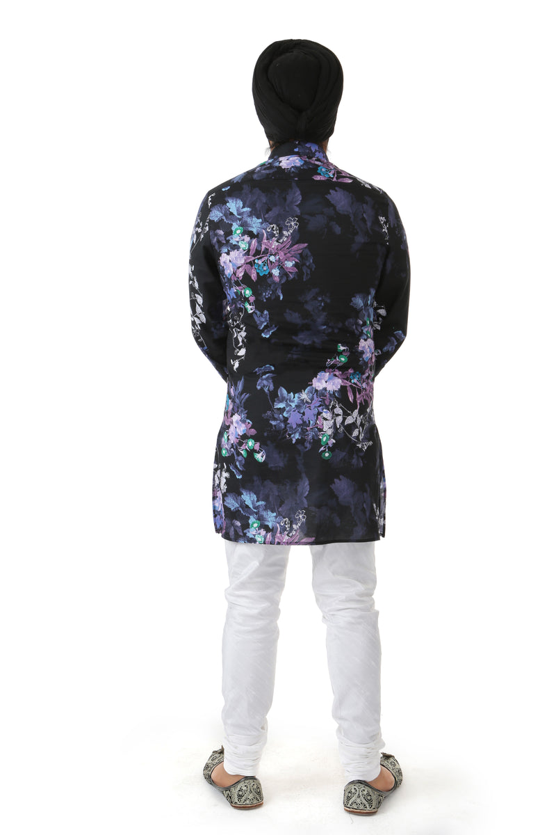 Harleen Kaur Mens CARTER Cotton V-Neck Kurta with Long Sleeves in Black Floral Multi Print - Back View