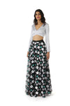 White, Silver, and Green Sequin Flowers on Black Mesh Fabric - Harleen Kaur Anisha Lehenga Skirt - Front View