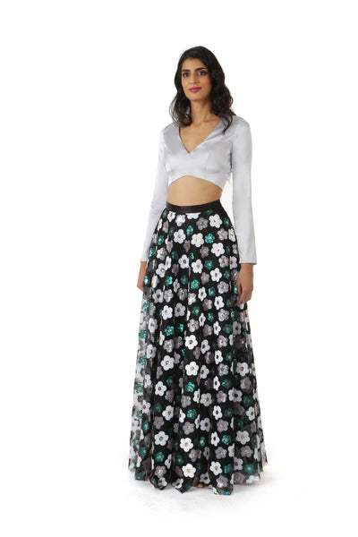 NIDA Silver Satin Crop Top with V Neckline and Long Sleeves - Front View | HARLEEN KAUR