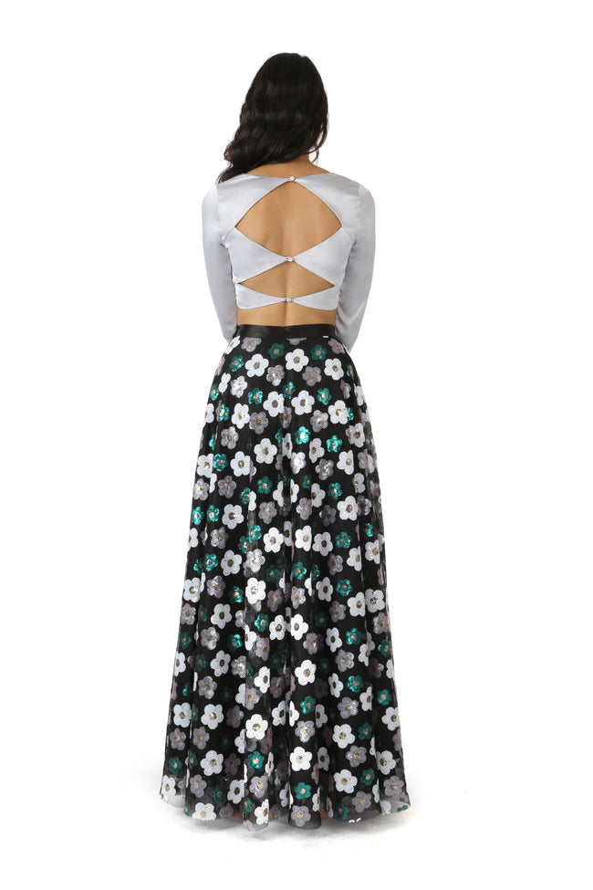 Anisha Black Floral Sequin Lehenga Skirt - Back View - Harleen Kaur