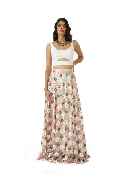 SIMAR white lehenga crop top with small cutouts | HARLEEN KAUR