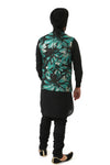 Harleen Kaur MIRAT Black Green Gold Metallic Jacquard Vest - Back View