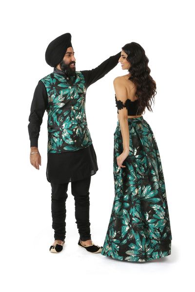 JAMAAN Black/Green/Gold Metallic Jacquard Lehenga Skirt with Black ANNA Top | HARLEEN KAUR